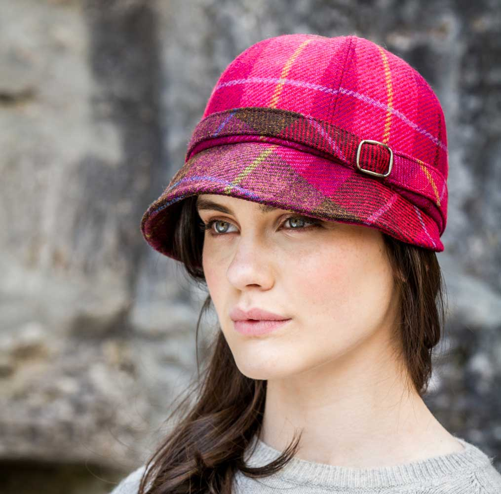 0cd0b60344bed Irish Ladies Red Plaid Flapper Hat - Irish Caps USA